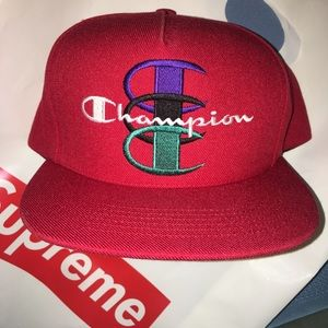 Supreme x Champion 5 Panel Hat ( Red )